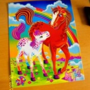Rare Vtg Lisa Frank School Folder Rainbow Horses